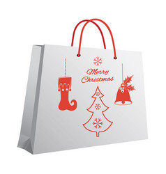 christmas shopping bag with a printed pattern of vector image vector image