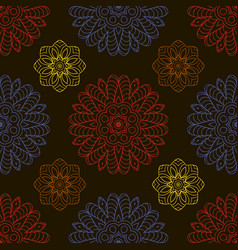 color seamless pattern ethnic ornament hand drawn vector image
