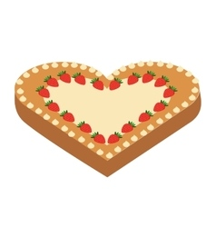 Delicious pie heart isolated icon design vector