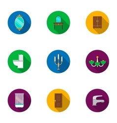 Furniture set icons in flat style Big collection vector image vector image