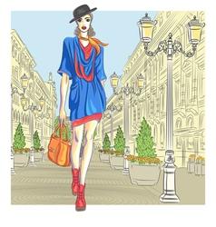 Girl in St Petersburg Russia vector image