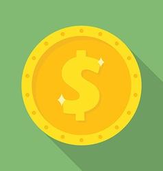 Gold dollar coin icon money symbol vector