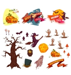 Halloween party set elements banners and vector