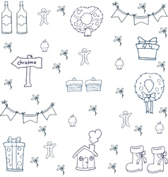 Hand draw christmas object on doodle vector