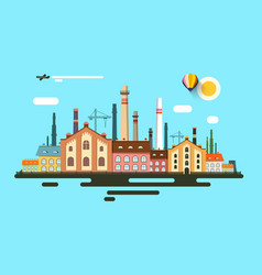 industrial town abstract urban flat design vector image vector image