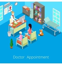 Isometric medical cabinet doctor appointment vector