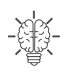 Line brain bulb to crative ideas solutions vector