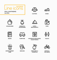 mall wayfinding - modern single line icons vector image vector image