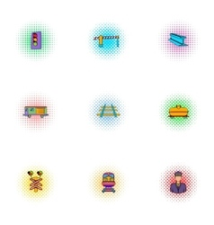 Railway transport icons set pop-art style vector