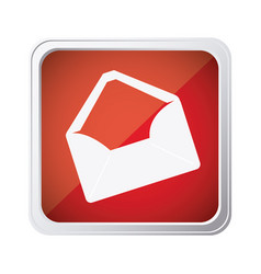Red emblem open message envelope icon vector