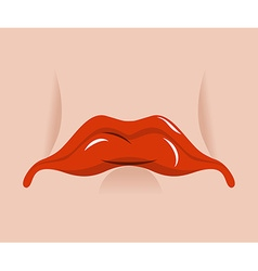 Sad mouth sorrowful red lips on white background vector