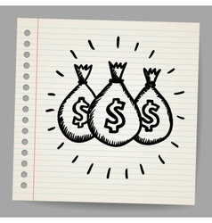 Scribble money bags vector image