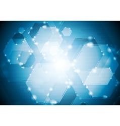 Shiny sparkling tech hexagons background vector image vector image