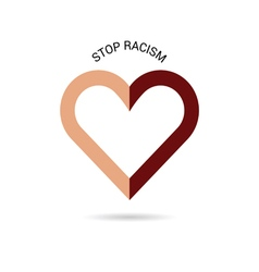 Stop racism with heart vector