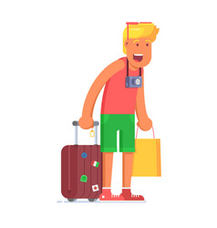 Surprised blond tourist man with luggage vector