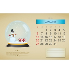 January 2013 calendar vector image