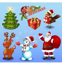 Set of design elements christmas tree gift bullfin vector