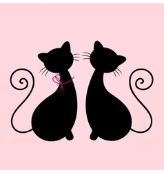 Cute cats couple sitting together - silhouette vector