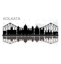 Kolkata city skyline black and white silhouette vector