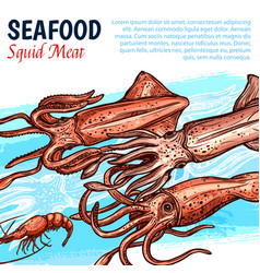 Poster for seafood or fish food market vector