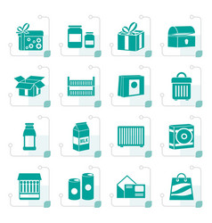 stylized different kind of package icons vector image