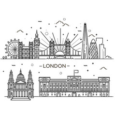 Linear banner of london city vector