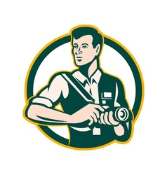 Photographer holding dslr camera retro vector