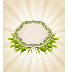 label and green olive branches vector image