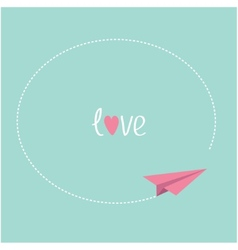 Pink origami paper plane round dash frame in the vector