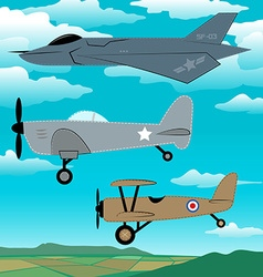 3 military planes flying together with clouds vector image