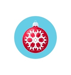 Icon red ball with snowflake vector