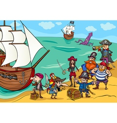Pirates with ship cartoon vector