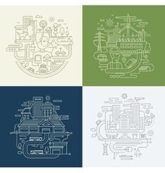 Line design compositions set - city lifestyle vector