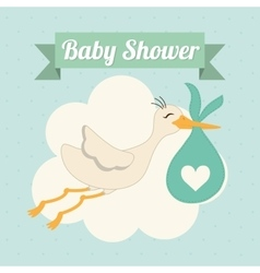 Baby shower stork pastel design graphic vector