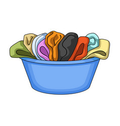 A bowl with dirty laundry dry cleanin single icon vector