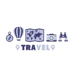 Adventure travel symbols set by five in line vector