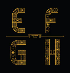 alphabet art deco style in a set efgh vector image