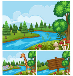 background scenes with animals by the river vector image vector image