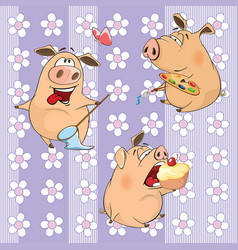 background with pigs seamless pattern vector image vector image