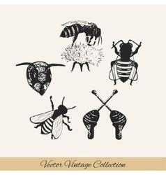 Bee set 2 vector image vector image