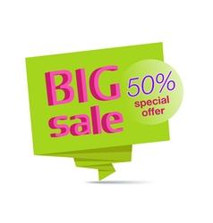 Big sale green paper banner vector