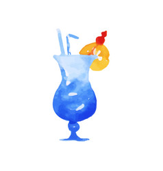 blue hawaii cocktail colorful hand drawn vector image vector image