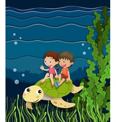 Boy and girl riding on turtle underwater vector