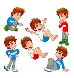 Boy in different poses and expressions vector image