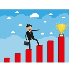 businessman with breafcase standing on graph vector image vector image