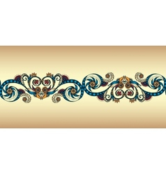 Colorful seamless ribbon on the gold background vector image vector image