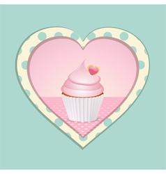 cupcake and polka dot heart vector image vector image
