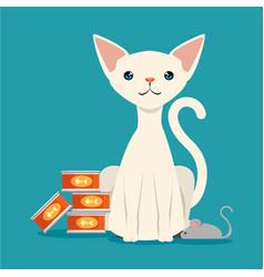 Cute cat with atun food pet friendly vector