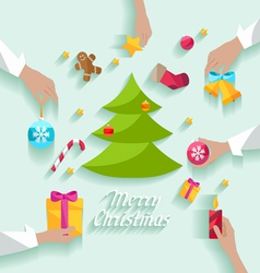 Decorating Christmas tree vector image vector image