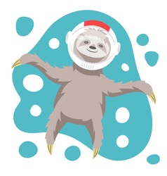 dreamy happy sloth floating in space in space vector image vector image